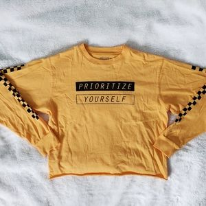 Prioritize Yourself Cropped Long Sleeve